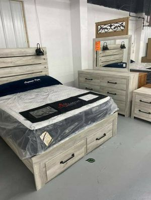 🪂 BRAND NEW 🪂SPECIAL] Cambeck Whitewash Footboard Storage Bedroom Set for Sale in Jessup, MD