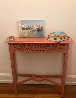 Handmade salmon console table with from Nadeau for Sale in Nashville, TN