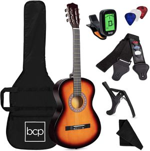 38in Acoustic Guitar Starter Kit Sunburst for Beginner Fit to All Ages for Sale in Henderson, NV