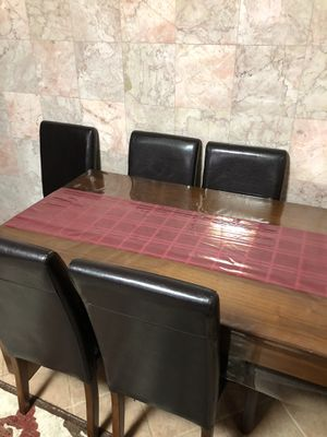 Solid Wood Dining Table + 6 Leather Chairs for Sale in Brooklyn, NY