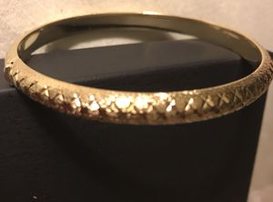 Beautiful gold hinged bangle bracelet, sterling silver for Sale in Colesville, MD