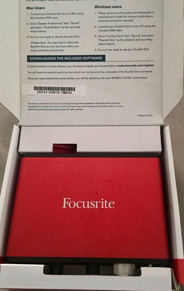 Focusrite Scarlett Solo (2nd Gen) w/ Audio-Technica AT2020 Microphone &  Cable for Sale in Dayton, OH - OfferUp