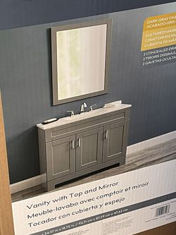 Single Sink Bathroom Vanity with White Cultured Marble Top (Mirror Included) for Sale in Troutdale,  OR