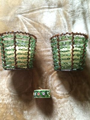 2 new Green Beaded Candleholders, Candles and Tealight for Sale in Hampton, VA