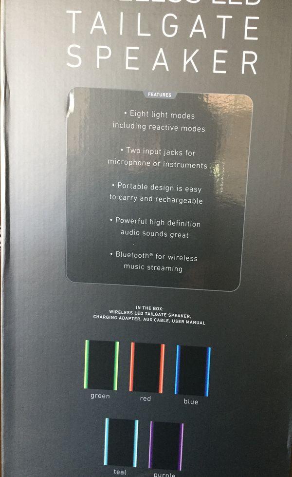 Sharper Image Wireless Led Tailgate Speaker Nib For Sale In San