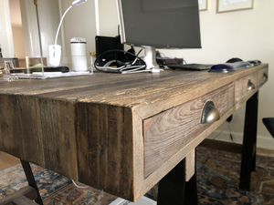 Wood office desk — rod iron stands. for Sale in CORONA DL MAR, CA