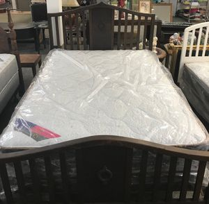 Full Mattress and Box Springs Solid Wood Bed Frame and Rails -$225.00 for Sale in Bellevue, NE