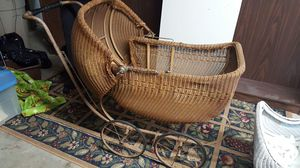 Antique wicker baby stroller carriage for Sale in Durham, NC