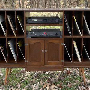 Vintage Mid Century Modern MCM Wood TV Media Hi-Fi 9 Partitioned Slots LP Vinyl Record Storage Unit Console Cabinet Stand Credenza for Sale in Chapel Hill, NC