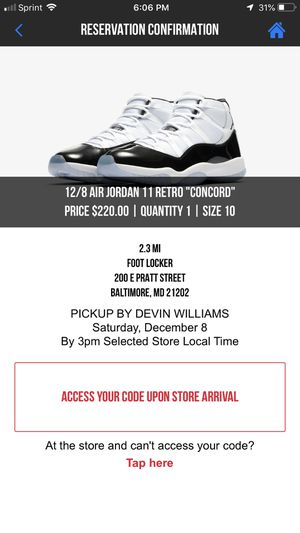 Jordan retro 11 concord 12/8 release reservation for Sale in Baltimore, MD