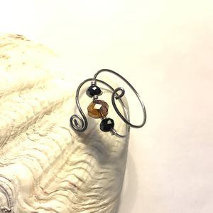 Stainless Steel Silver Ring with Amber and Black Crystal Beads for Sale in Wolcott, CT