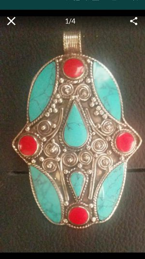 New beautiful sterling silver, turquoise and coral pendant. Large for Sale in Oro Valley, AZ