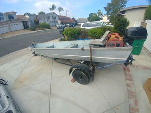 14' aluminum skiff 4hp motor with trailer for Sale in Mission Viejo, CA
