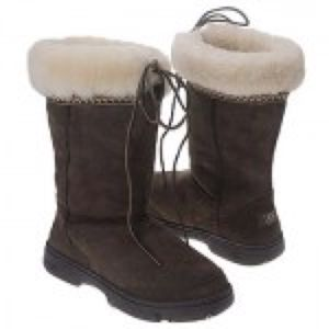 Ugg Ultimate Cuff Tall Chocolate Leather Sheepskin Fur Winter Snow Boots - Size 6 for Sale, used for sale  Brooklyn, NY