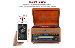 1byone Nostalgic Wooden Turntable Wireless Vinyl Record Player with AM, FM, CD, MP3 Recording to USB, AUX Input for Smartphone and Tablets, RCA Output for Sale in Rancho Cucamonga, CA