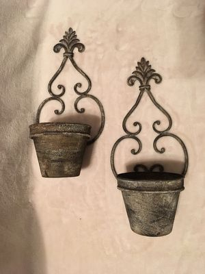 Flower Pot Rustic Wall Decor - Set of 2 for Sale in New Richmond, WI