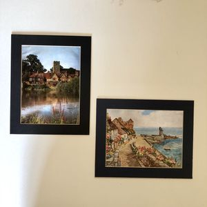 Vintage England UK foil art prints Set of two 1960s Dufex Printing foil prints of River Medway in Kent, England and Jetty in Lynmouth England for Sale in San Diego, CA
