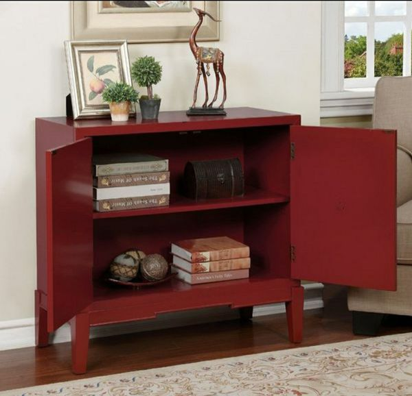 Red Accent Cabinet