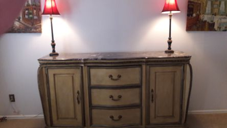 Gold Leaf Cabinet with Beautiful Marble Top for Sale in Westminster,  CO
