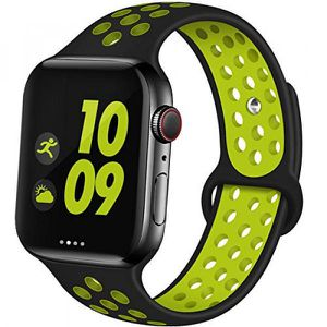 Breathable Sport Strap Wristband Replacement for Apple Watch Series 5 / 4 / 3 / 2 / 1 Sport 44MM / 42MM - 40MM / 38MM (Black Green) for Sale in Midland, TX