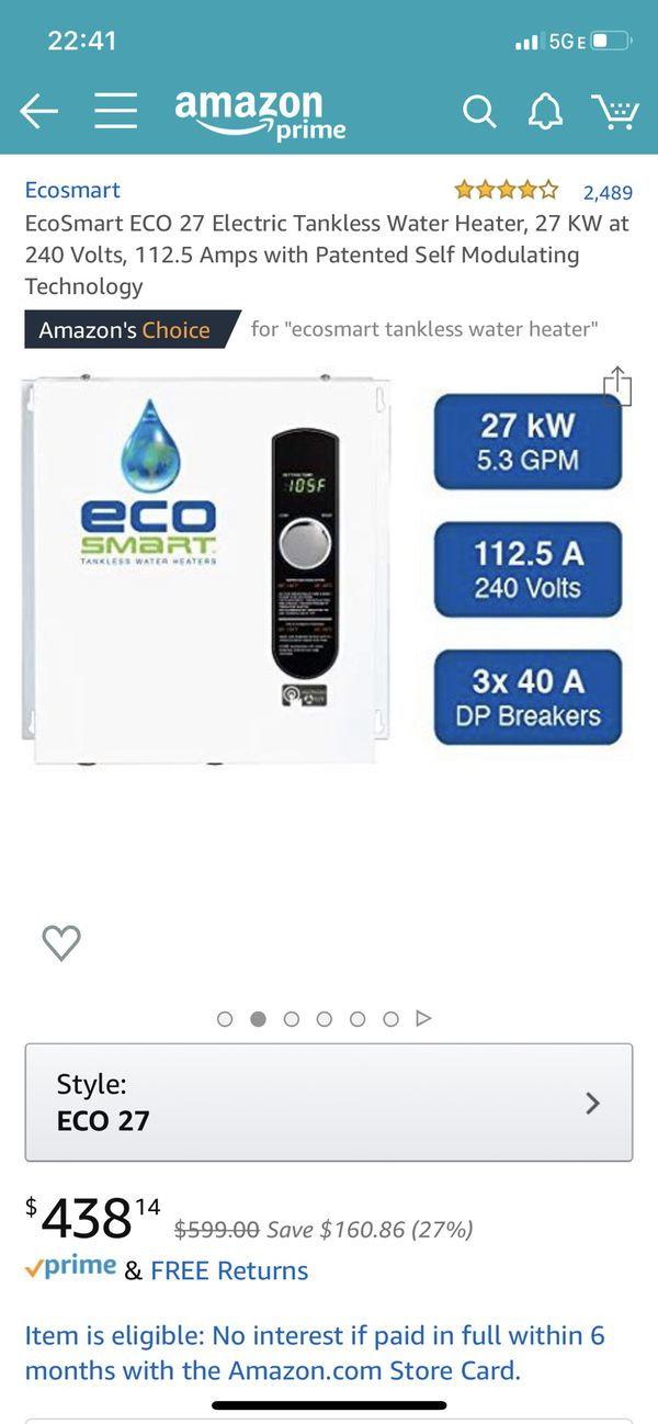 Ecosmart 27 tankless hot water heater