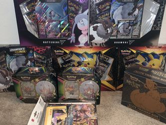 Pokémon Shining Fates ETB (1), Cramorant V Tin (2), Pikachu V Boxes (2), Champions Path Dubwool V (2), Pikachu Collectors Folder + ... for Sale in Fontana,  CA