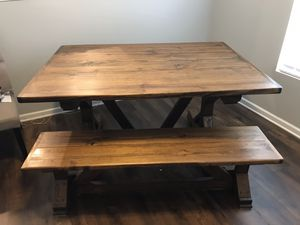 Wood dining table & bench for Sale in Murfreesboro, TN