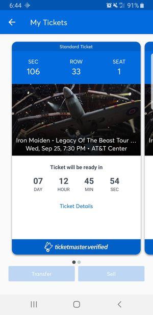 Iron Maiden Concert Tickets - San Antonio 9/25 for Sale in Corpus Christi, TX