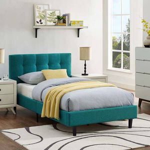 Twin teal fabric upholstered bed for Sale in Alexandria, VA