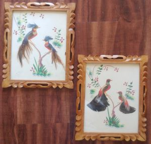 Vintage Mexican Folk Art Feathercraft with Carved Wood Frames for Sale in Hampton, VA