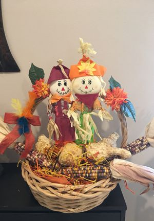 "14"" large basket with harvest decoration , $10 for Sale in Burbank, CA"