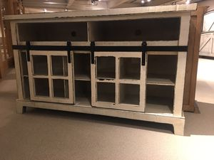 """New floor sample 60"""" Entertainment center with Barn door and glass showroom display sample for Sale in Durham, NC"""