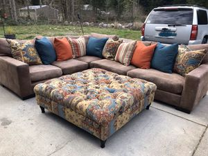 Large down sectional + ottoman from Mor Furniture for Sale in Roy, WA