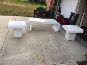 Formica Custom Built Contemporary White Coffee Table, n 2 End Tables for Sale in Cape Coral, FL