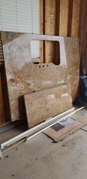Granite island and 3 counter pieces....can fabricate to fit small to medium size kitchen for very unheard of price.....has semi bull nose edge for Sale in Erie, CO