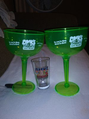 Collectors margarita glasses and double shot shot glass from Dick's Last Resort Indy for Sale in Indianapolis, IN