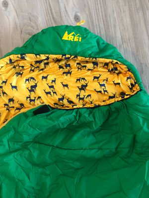 REI kindercone youth sleeping bag unisex green yellow deers for Sale in Portland, OR