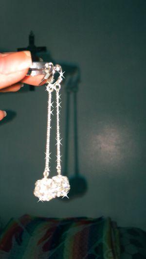 Silver earrings diamonds rinestone for Sale in Los Angeles, CA