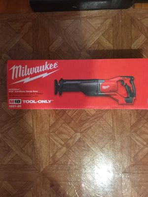 Milwaukee. M18 Lithium Ion Cordless SAWZALL Reciprocating Saw(Tool Only). 2621-20. for Sale in Brooklyn, NY