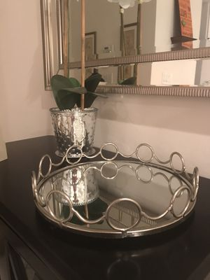 Silver metal glass tray. Place on your kitchen counter or buffet for the holidays. 12 in wide for Sale in Pembroke Pines, FL