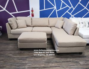 Real Showroom 😁 We Finance - Sand Reversible Chaise Couch Sofa Sectional With Ottoman for Sale in Bellflower, CA