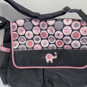 Diaper Bag- Grey & Pink with Elephants for Sale in Snohomish, WA