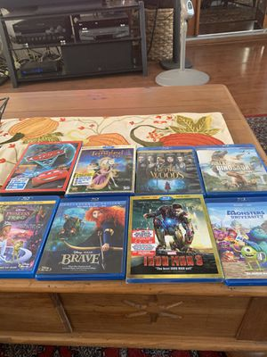 Disney Blue Ray DVDs, Monsters Universe, Iron Man 3, Brave, The Princess and the Frog, walking With Dinosaurs, Into the Woods, Cars 2, Tangled 3 D. for Sale in Spring Valley, CA