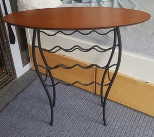 Wine Rack modern design wood metal free standing end display table for Sale in Daly City, CA