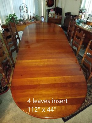 Solid Cherry Dining Room Table with 6 Ladder Back Rush Seating Chairs for Sale in San Diego, CA