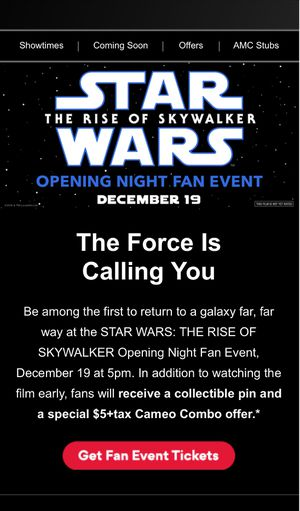 2 Tickets to Star Wars: The Rise of Skywalker Opening Night Fan Event @ AMC Theater 19 Boston Commons for Sale in Winthrop, MA