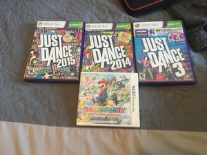 3 just dance games for the Xbox 360 and Mario party Island Tour 3Ds for Sale in Laveen Village, AZ