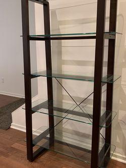 DANIA Glass and Wood Office High Shelf, Bookcase, Bookshelf for Sale in Mercer Island,  WA