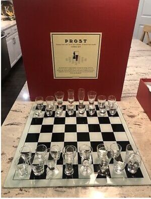 Restoration Hardware PROST Chess Set Glass Board 32 Shot Glasses Drink Game for Sale in Battle Ground, WA