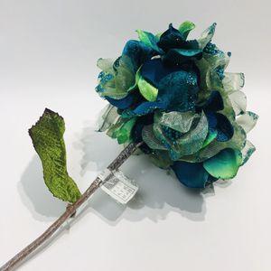 "Vickerman 22"" Teal Glitter Sheer Hydrangea Decor Wedding Flower Stem Blue Green VASE NOT INCLUDED for Sale in Tenino, WA"
